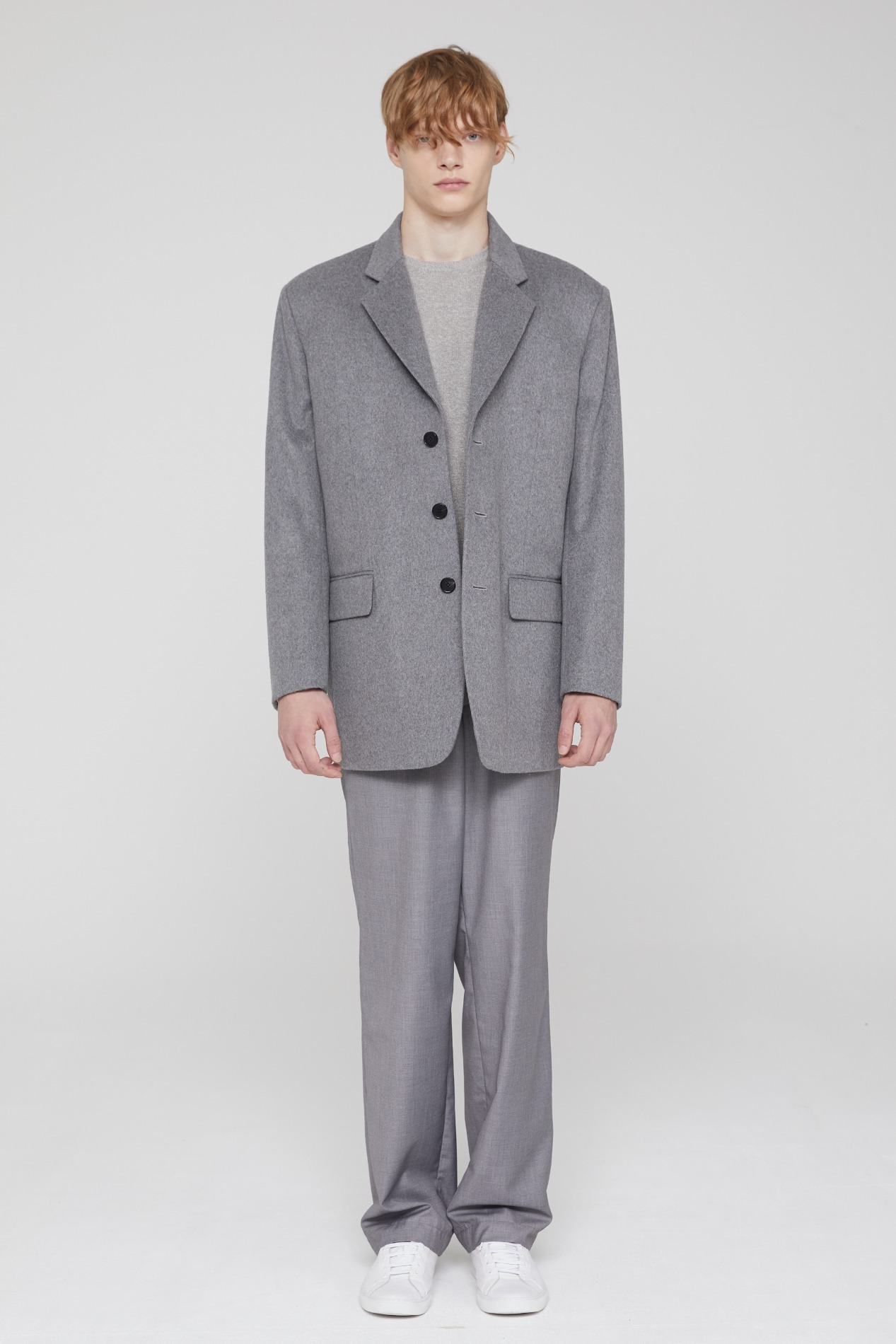 3BUTTON HEAVY WOOL BLAZER (GRAY)