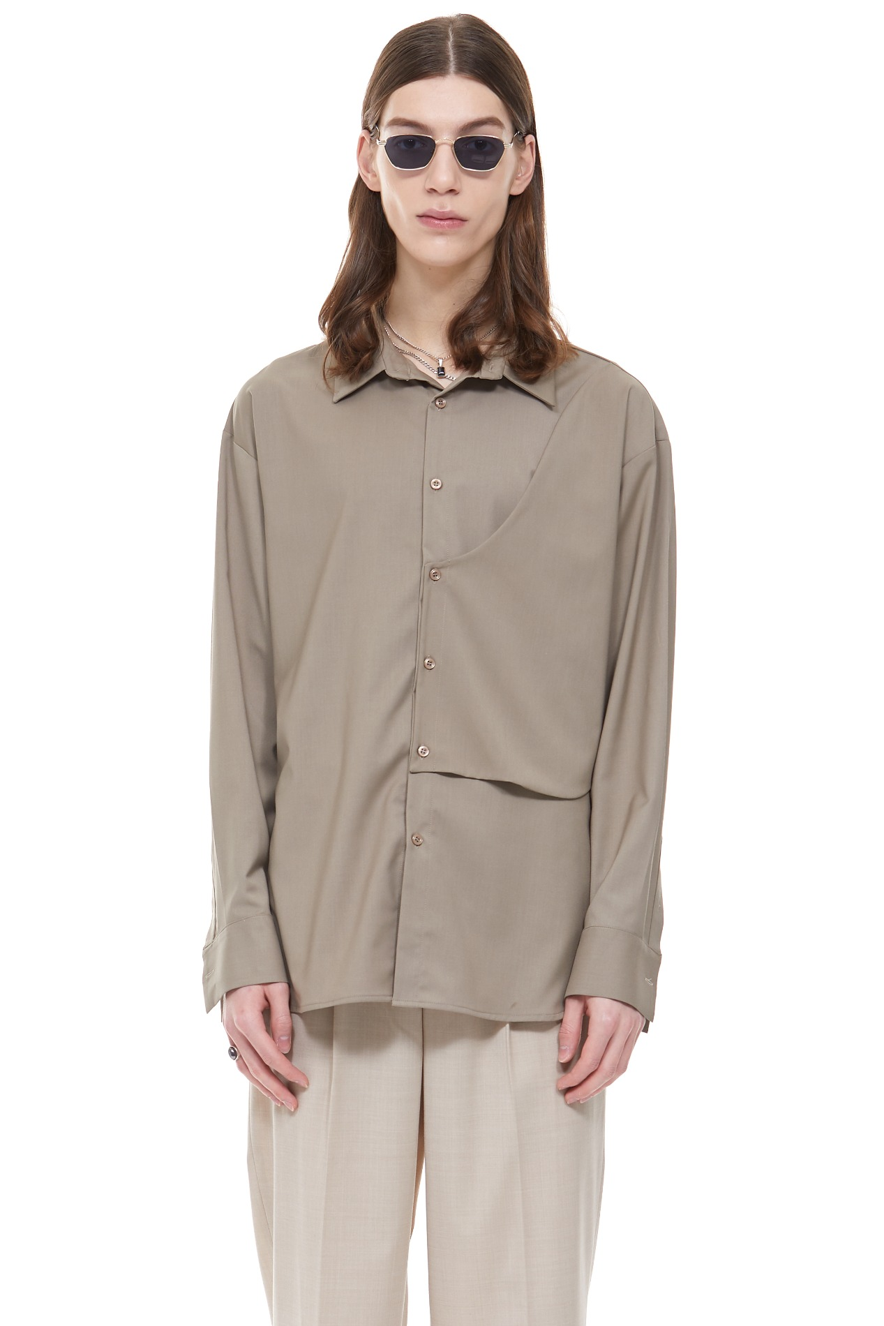 [ATELIER LINE]WRAP SHIRT(Brown)