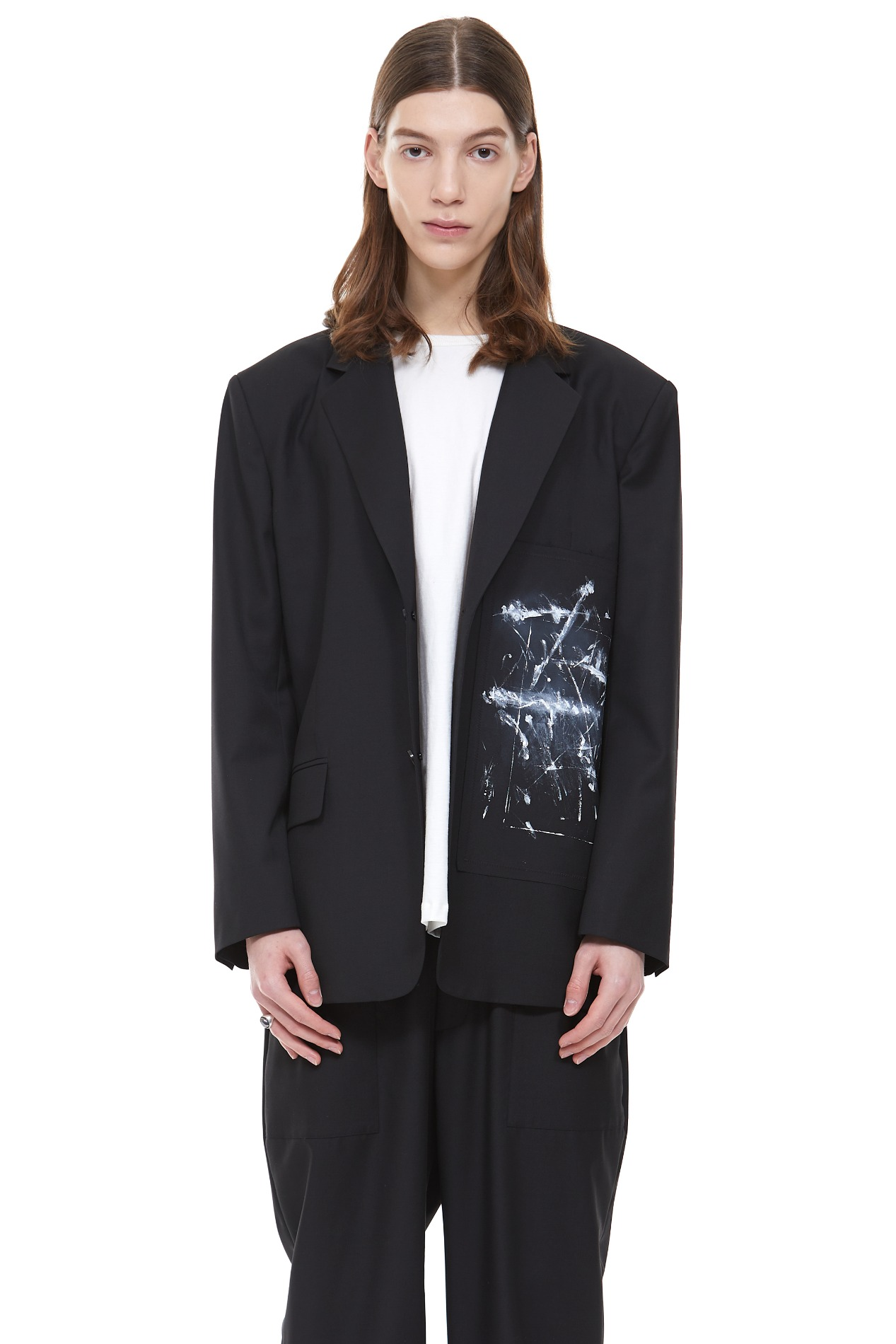 (Italy wool) OVERSIZED PAINTING JACKET(Black)