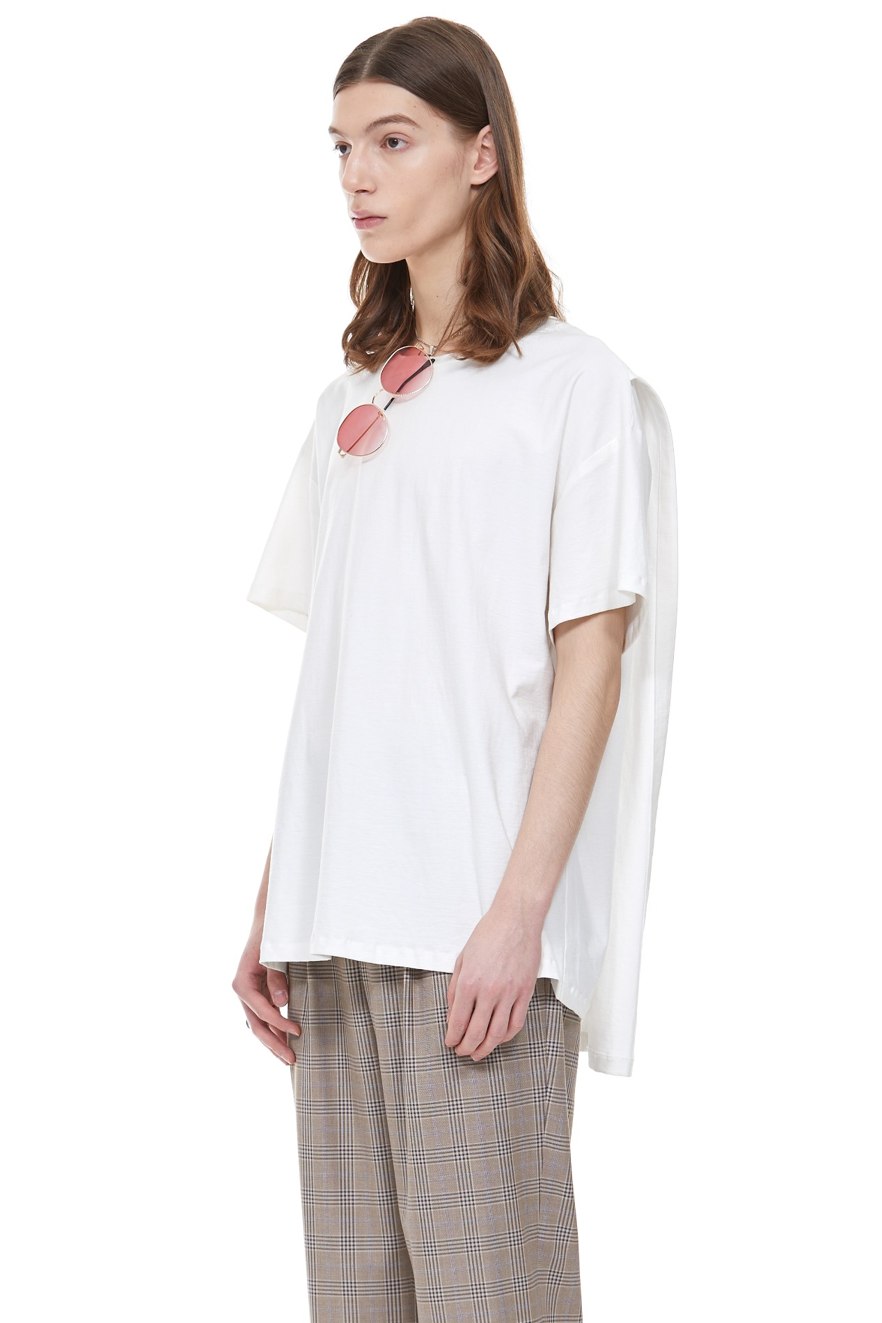 BACK COVERED T-SHIRT(White)