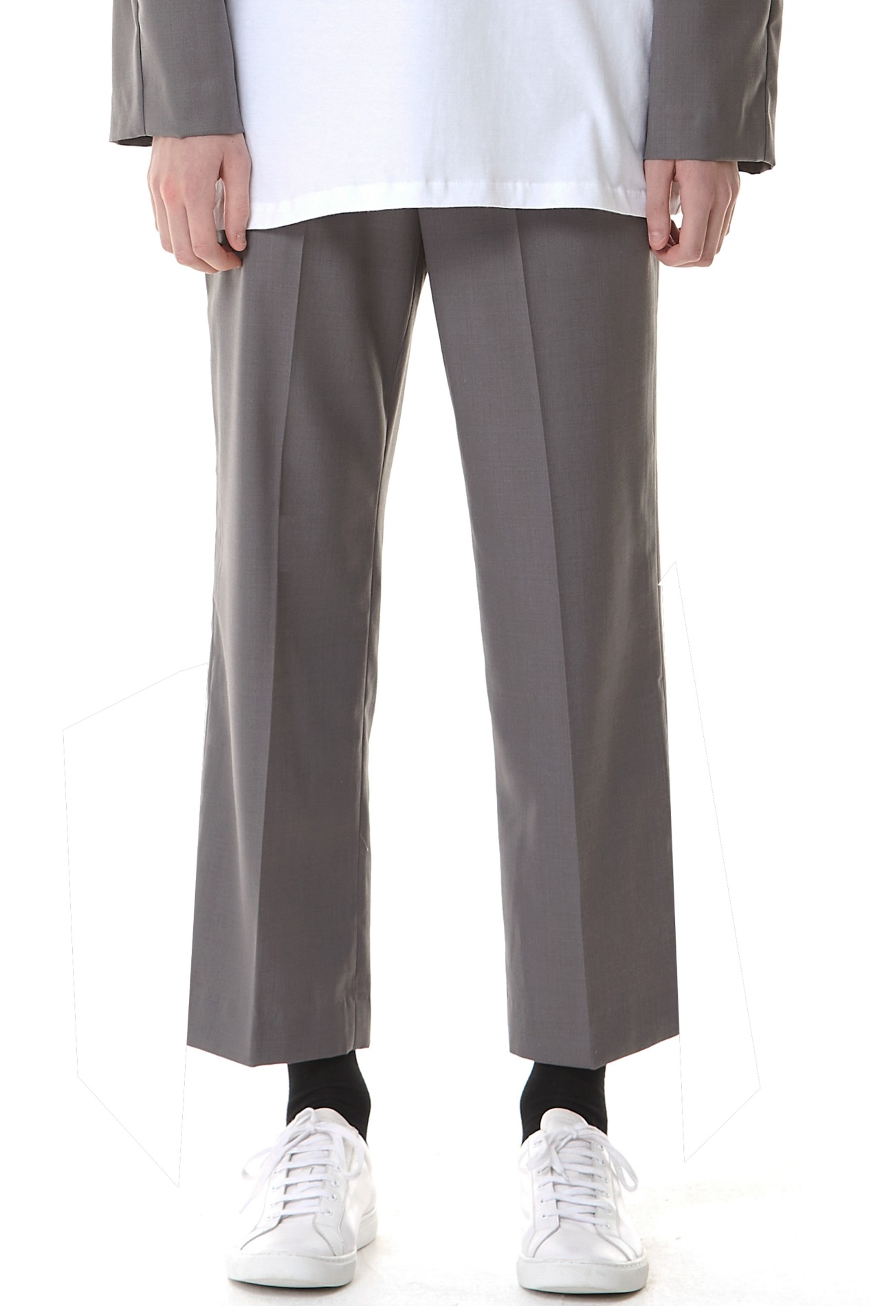 Cropped Straight Trousers(Gray)