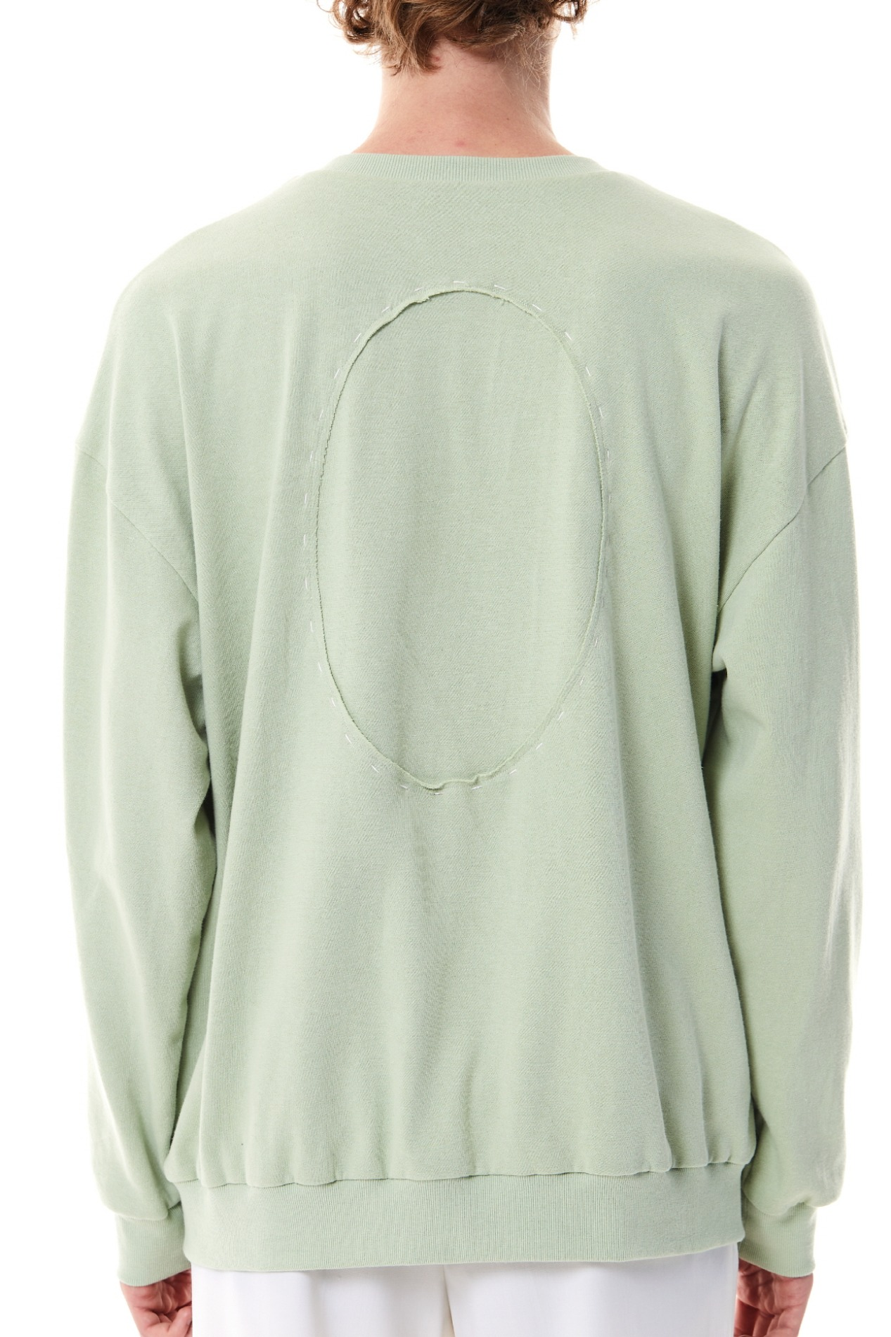 BackCircle Cropped Hand Stitch Sweatshirt