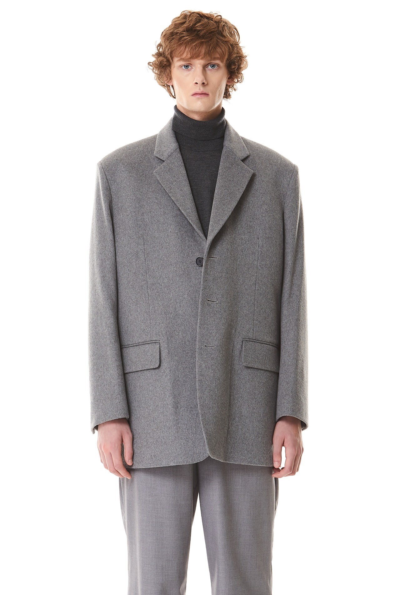 3Button Heavy Wool Mid Blazer(Gray)