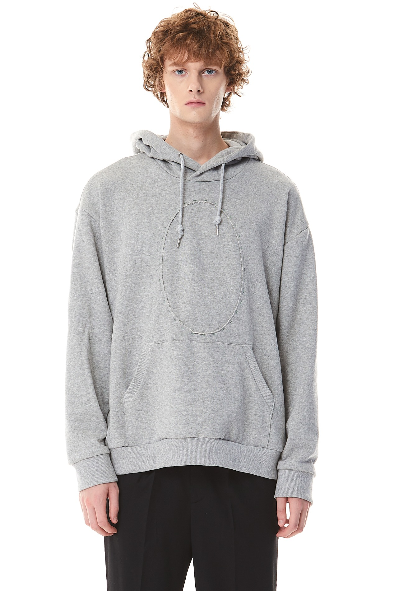 CircleCropped Hand Stitch Hoodie(Gray)