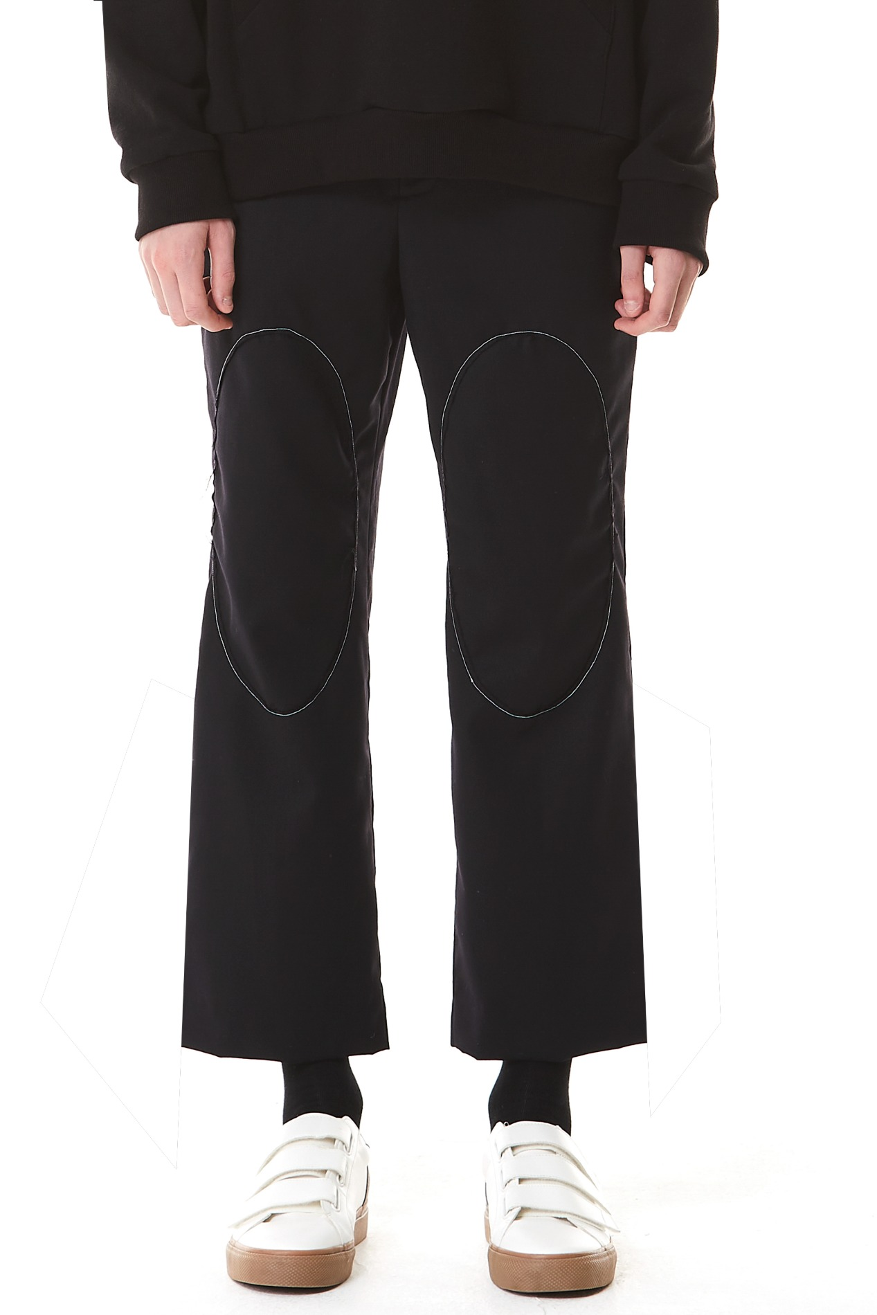 Circle Stitch Cropped Straight Trousers