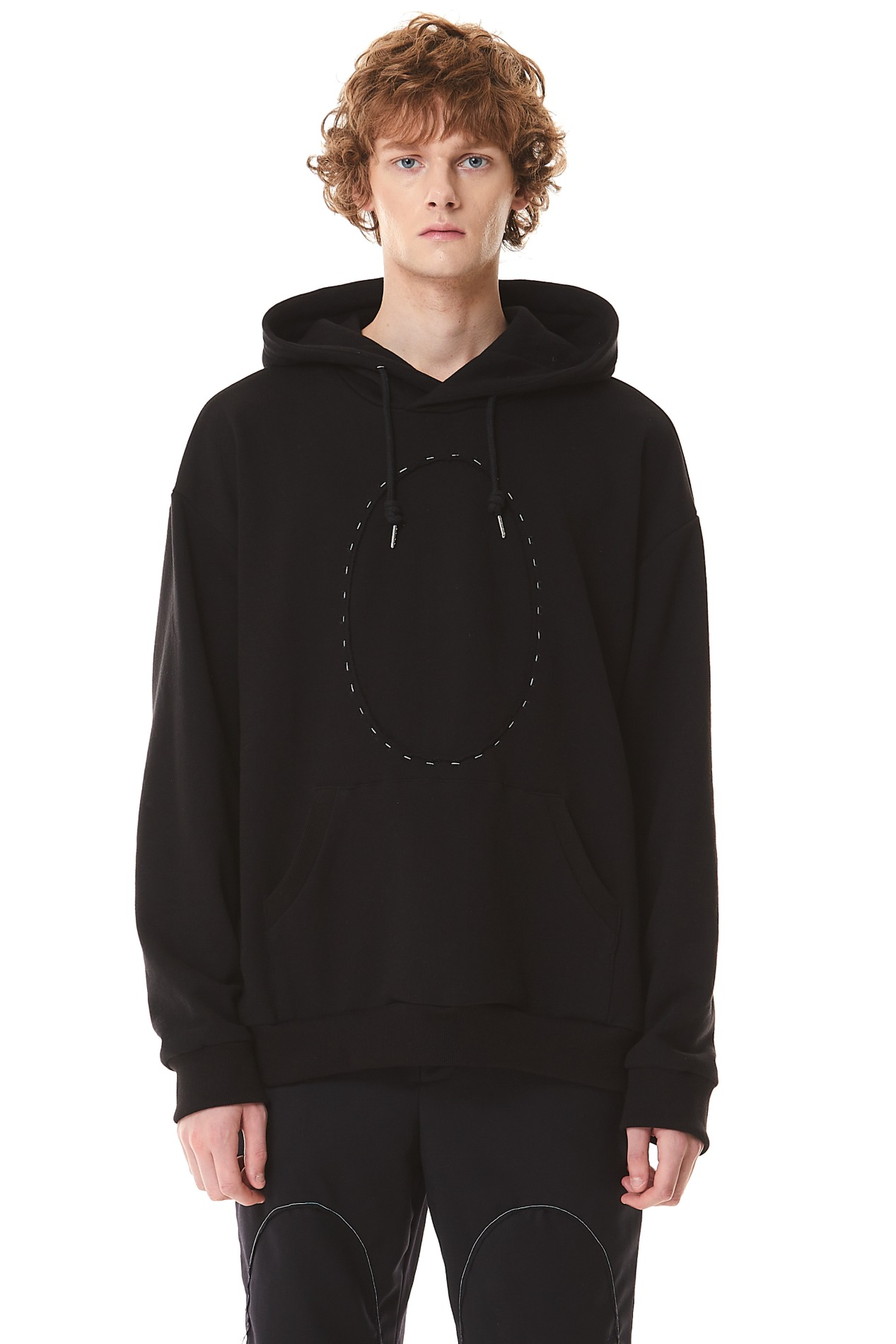 CircleCropped Hand Stitch Hoodie(Black)