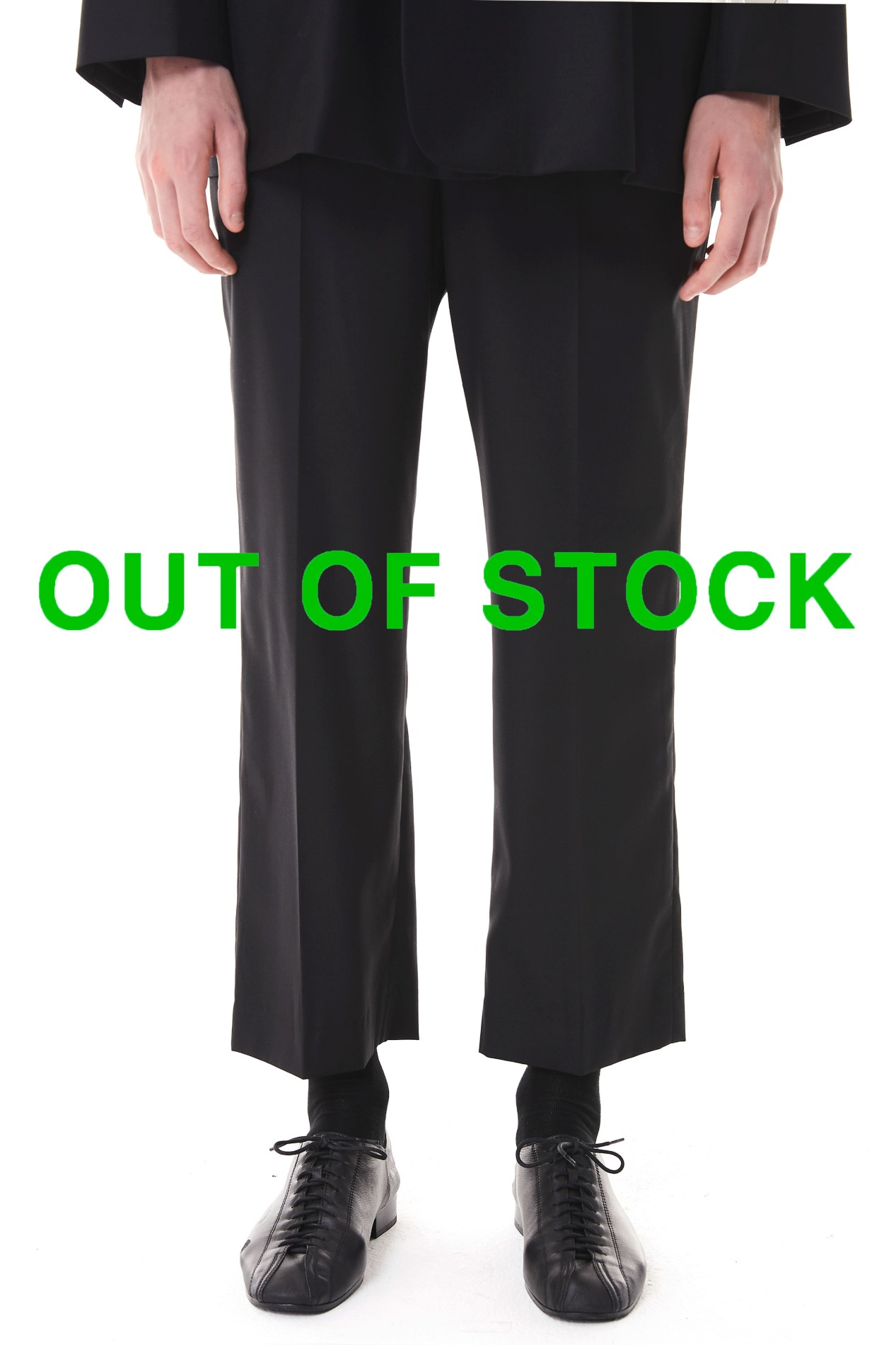 Cropped Straight Trousers(Black)